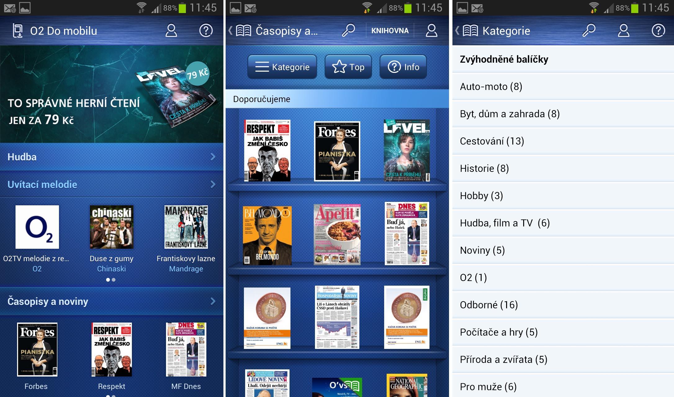 Aplikace O2 Do mobilu, jejíž součástí je i nabídka novin a časopisů O2 Čtení