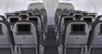Kabina Airbusu A321 společnosti American Airlines s multimediálním systémem, wi-fi a USB konektory